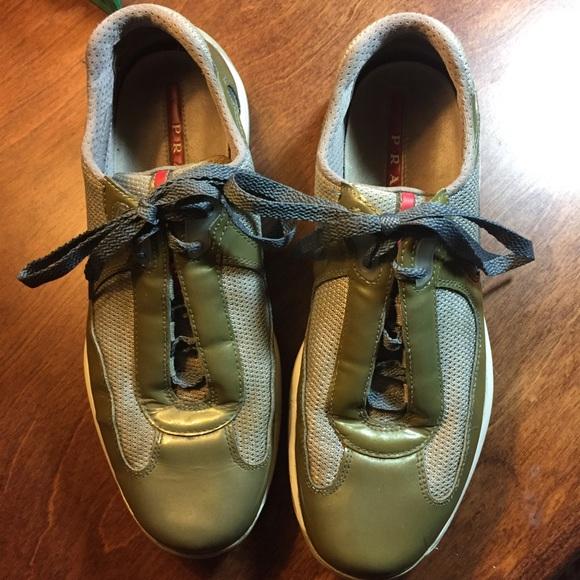 Prada Shoes - PRADA Manhattan Women s Sneakers - Olive 9 709ed9f6ae